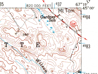 Reduced fragment of topographic map en--usgs--063k--054486--(1941)--N045-00_W067-30--N044-45_W067-15 in area of Cathance Lake, Hadley Lake