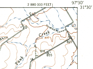 Reduced fragment of topographic map en--usgs--063k--054519--(1950)--N031-30_W097-45--N031-15_W097-30; towns and cities Gatesville, Oglesby, South Mountain, Fort Gates