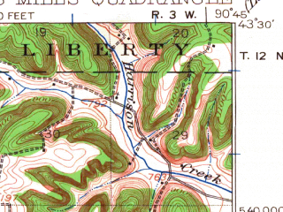Reduced fragment of topographic map en--usgs--063k--054531--(1924)--N043-30_W091-00--N043-15_W090-45; towns and cities Bell Center, Gays Mills, Mount Sterling