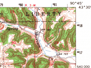 Reduced fragment of topographic map en--usgs--063k--054531--(1966)--N043-30_W091-00--N043-15_W090-45; towns and cities Bell Center, Gays Mills, Mount Sterling