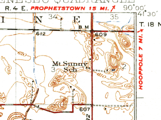 Reduced fragment of topographic map en--usgs--063k--054535--(1934)--N041-30_W090-15--N041-15_W090-00; towns and cities Geneseo, Atkinson, Cambridge