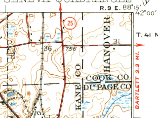 Reduced fragment of topographic map en--usgs--063k--054539--(1932)--N042-00_W088-30--N041-45_W088-15; towns and cities Aurora, St. Charles, Batavia, Geneva, North Aurora