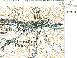 Reduced fragment of topographic map en--usgs--063k--054547--(1903)--N039-45_W105-45--N039-30_W105-30; towns and cities Georgetown, Idaho Springs, Silver Plume
