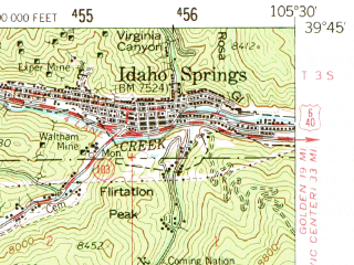 Reduced fragment of topographic map en--usgs--063k--054547--(1957)--N039-45_W105-45--N039-30_W105-30; towns and cities Georgetown, Idaho Springs, Silver Plume