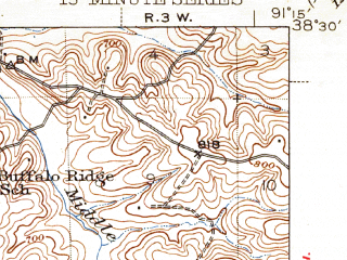 Reduced fragment of topographic map en--usgs--063k--054549--(1944)--N038-30_W091-30--N038-15_W091-15; towns and cities Gerald, Owensville, Rosebud