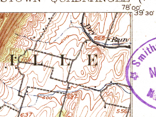 Reduced fragment of topographic map en--usgs--063k--054554--(1916)--N039-30_W078-15--N039-15_W078-00; towns and cities Inwood