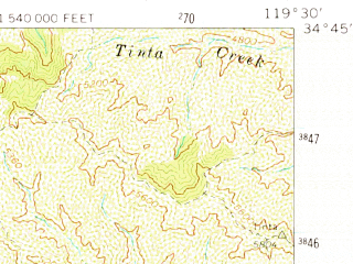 Reduced fragment of topographic map en--usgs--063k--054560--(1964)--N034-45_W119-45--N034-30_W119-30 in area of Gibraltar Reservoir