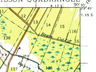 Reduced fragment of topographic map en--usgs--063k--054562--(1939)--N029-45_W091-00--N029-30_W090-45; towns and cities Bayou Cane, Schriever, Gray