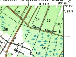 Reduced fragment of topographic map en--usgs--063k--054562--(1941)--N029-45_W091-00--N029-30_W090-45; towns and cities Bayou Cane, Gray, Schriever