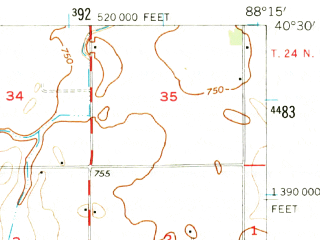 Reduced fragment of topographic map en--usgs--063k--054563--(1957)--N040-30_W088-30--N040-15_W088-15; towns and cities Elliott, Fisher, Foosland