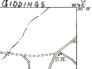 Reduced fragment of topographic map en--usgs--063k--054564--(1919)--N030-15_W097-00--N030-00_W096-45; towns and cities Giddings