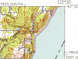 Reduced fragment of topographic map en--usgs--063k--054565--(1942)--N047-30_W122-45--N047-15_W122-30; towns and cities Artondale, Ruston, Fox Island, Gig Harbor