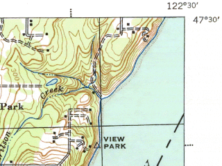 Reduced fragment of topographic map en--usgs--063k--054565--(1943)--N047-30_W122-45--N047-15_W122-30; towns and cities Artondale, Ruston, Fox Island, Gig Harbor