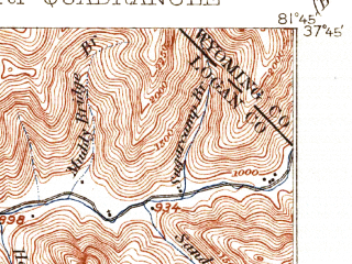 Reduced fragment of topographic map en--usgs--063k--054569--(1912)--N037-45_W082-00--N037-30_W081-45 in area of R.d. Bailey Lake; towns and cities Gilbert, Gilbert Creek, Mallory