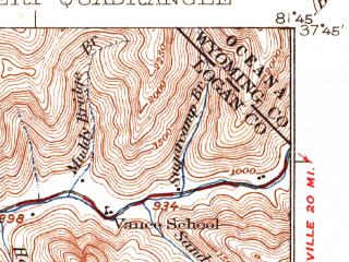 Reduced fragment of topographic map en--usgs--063k--054569--(1925)--N037-45_W082-00--N037-30_W081-45 in area of R.d. Bailey Lake; towns and cities Man, Gilbert, Gilbert Creek