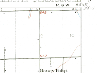 Reduced fragment of topographic map en--usgs--063k--054576--(1912)--N039-15_W090-00--N039-00_W089-45 in area of Gillespie Lake; towns and cities White City, Benld, Wilsonville