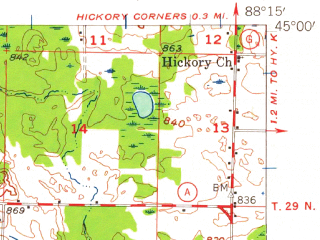 Reduced fragment of topographic map en--usgs--063k--054578--(1956)--N045-00_W088-30--N044-45_W088-15; towns and cities Cecil, Gillett, Suring