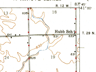 Reduced fragment of topographic map en--usgs--063k--054581--(1946)--N041-00_W088-00--N040-45_W087-45; towns and cities Clifton, Crescent City, Danforth