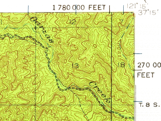 Reduced fragment of topographic map en--usgs--063k--054590--(1939)--N037-15_W121-30--N037-00_W121-15
