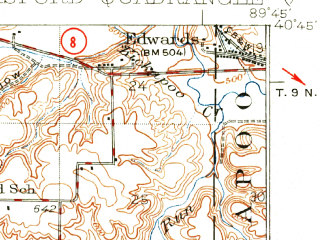 Reduced fragment of topographic map en--usgs--063k--054602--(1930)--N040-45_W090-00--N040-30_W089-45; towns and cities Banner, Glasford, Hanna City