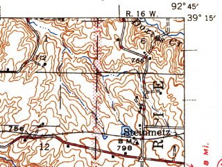 Reduced fragment of topographic map en--usgs--063k--054604--(1947)--N039-15_W093-00--N039-00_W092-45; towns and cities Arrow Rock, Franklin, Glasgow