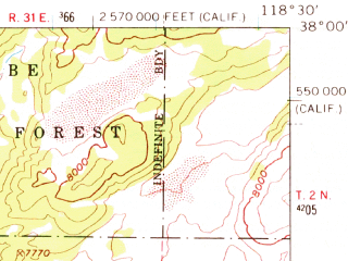 Reduced fragment of topographic map en--usgs--063k--054605--(1962)--N038-00_W118-45--N037-45_W118-30 in area of Black Lake