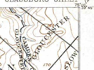 Reduced fragment of topographic map en--usgs--063k--054606--(1898)--N039-45_W075-15--N039-30_W075-00; towns and cities Glassboro, Clayton, Pitman, Olivet, Elmer