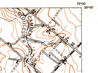 Reduced fragment of topographic map en--usgs--063k--054606--(1948)--N039-45_W075-15--N039-30_W075-00; towns and cities Glassboro, Clayton, Pitman, Olivet, Elmer