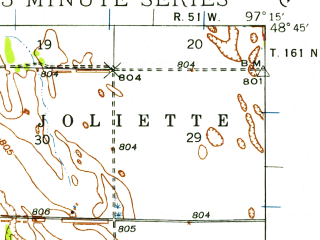 Reduced fragment of topographic map en--usgs--063k--054607--(1939)--N048-45_W097-30--N048-30_W097-15 in area of North Salt Lake; towns and cities St. Thomas