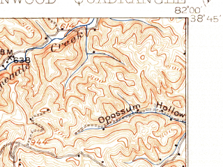 Reduced fragment of topographic map en--usgs--063k--054608--(1906)--N038-45_W082-15--N038-30_W082-00