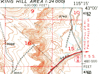 Reduced fragment of topographic map en--usgs--063k--054621--(1948)--N043-00_W115-30--N042-45_W115-15; towns and cities Glenns Ferry
