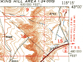 Reduced fragment of topographic map en--usgs--063k--054621--(1951)--N043-00_W115-30--N042-45_W115-15; towns and cities Glenns Ferry