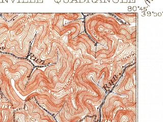Reduced fragment of topographic map en--usgs--063k--054624--(1906)--N039-00_W081-00--N038-45_W080-45; towns and cities Glenville
