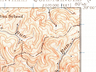 Reduced fragment of topographic map en--usgs--063k--054624--(1925)--N039-00_W081-00--N038-45_W080-45; towns and cities Glenville