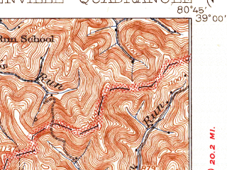 Reduced fragment of topographic map en--usgs--063k--054624--(1928)--N039-00_W081-00--N038-45_W080-45; towns and cities Glenville