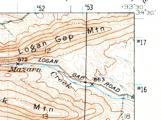 Reduced fragment of topographic map en--usgs--063k--054625--(1949)--N034-30_W093-45--N034-15_W093-30; towns and cities Black Springs, Glenwood, Norman