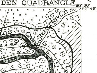 Reduced fragment of topographic map en--usgs--063k--054628--(1956)--N029-45_W096-45--N029-30_W096-30; towns and cities Columbus