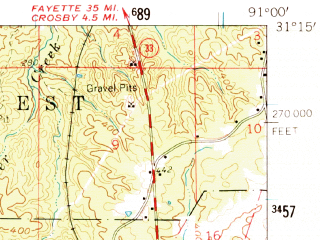 Reduced fragment of topographic map en--usgs--063k--054632--(1961)--N031-15_W091-15--N031-00_W091-00; towns and cities Centreville, Gloster