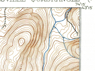 Reduced fragment of topographic map en--usgs--063k--054634--(1943)--N043-15_W074-30--N043-00_W074-15 in area of Peck Lake; towns and cities Gloversville, Johnstown, Mayfield