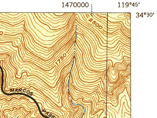 Reduced fragment of topographic map en--usgs--063k--054659--(1942)--N034-30_W120-00--N034-15_W119-45; towns and cities Isla Vista
