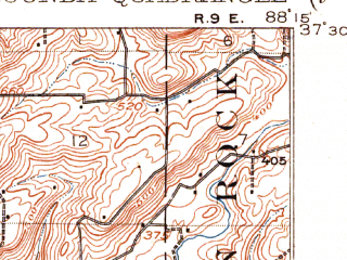 Reduced fragment of topographic map en--usgs--063k--054662--(1916)--N037-30_W088-30--N037-15_W088-15; towns and cities Carrsville, Elizabethtown, Golconda