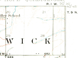 Reduced fragment of topographic map en--usgs--063k--054664--(1916)--N040-45_W090-45--N040-30_W090-30; towns and cities Bushnell, Good Hope, Roseville