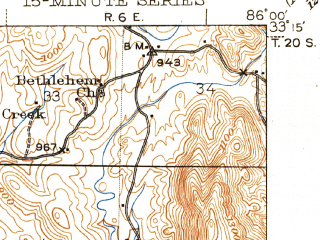 Reduced fragment of topographic map en--usgs--063k--054700--(1947)--N033-15_W086-15--N033-00_W086-00; towns and cities Goodwater