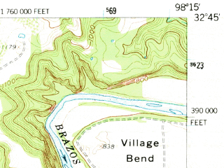 Reduced fragment of topographic map en--usgs--063k--054707--(1959)--N032-45_W098-30--N032-30_W098-15 in area of Palo Pinto Creek Reservoir; towns and cities Gordon, Mingus, Strawn