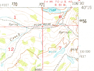 Reduced fragment of topographic map en--usgs--063k--054713--(1956)--N040-15_W106-45--N040-00_W106-30