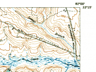 Reduced fragment of topographic map en--usgs--063k--054719--(1948)--N033-15_W082-15--N033-00_W082-00; towns and cities Waynesboro, Vidette, Keysville
