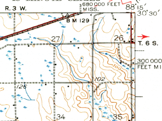 Reduced fragment of topographic map en--usgs--063k--054739--(1943)--N030-30_W088-30--N030-15_W088-15; towns and cities Bayou La Batre, Grand Bay