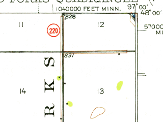 Reduced fragment of topographic map en--usgs--063k--054742--(1934)--N048-00_W097-15--N047-45_W097-00; towns and cities Grand Forks, East Grand Forks, Thompson