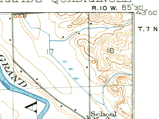 Reduced fragment of topographic map en--usgs--063k--054754--(1914)--N043-00_W085-45--N042-45_W085-30; towns and cities Grand Rapids, Wyoming, Kentwood, Cutlerville, East Grand Rapids