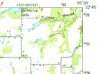 Reduced fragment of topographic map en--usgs--063k--054757--(1959)--N032-45_W095-45--N032-30_W095-30 in area of Lake Holbrook; towns and cities Grand Saline, Van
